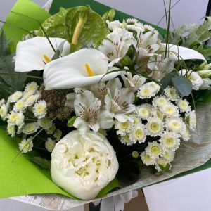 Classic white hand tied bouquet forever flowers